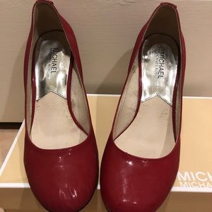 Michael Kors red leather heels size 8